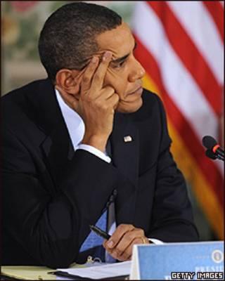 Barack Obama  durante a reunião em Washington