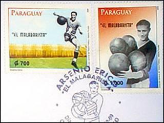 Sellos postales en honor de Arsenio Erico.