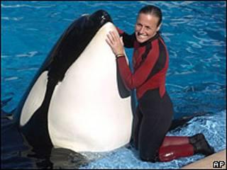 Entrenadora Dawn Brancheau y orca