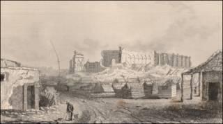 Desenho reproduzindo a destruição da cidade de Concepción no Chile em 1835 (Foto: Portal Darwin-online.org.uk)