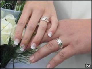 Руки молодоженов с кольцами