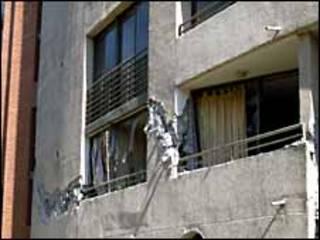 Edificio dañado en Santiago