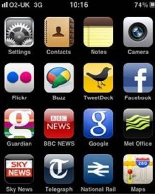 تصویر امکانات آی فون بر روی صفحه آن