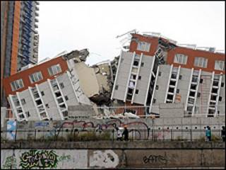 Edificio derrumbado en Concepción, Chile