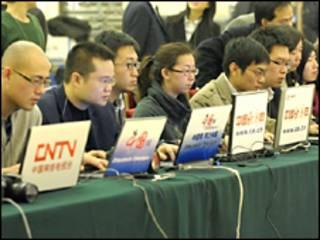 Periodistas de sitios de internet chinos.