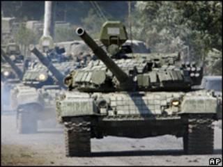 Imagen de archivo de tanques rusos en Georgia en agosto de 2008