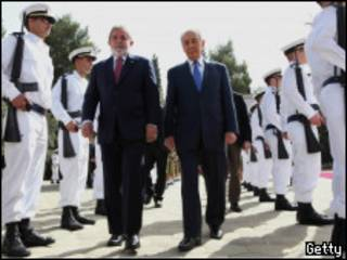 Presidentes Lula e Peres em Israel (GALI TIBBON/AFP/Getty Images)