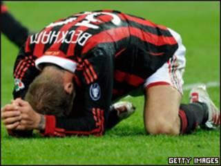Beckham tras sufrir la lesión