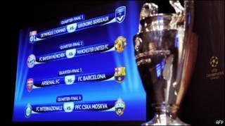 Главный трофей Лиги чемпионов на фоне четвертьфинальных пар