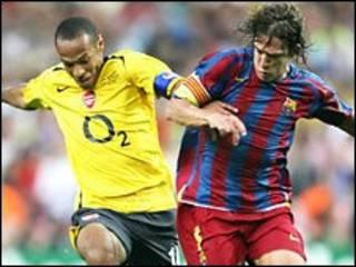 2006年,亨利曾代表阿森纳出场,但输给了巴塞罗那。