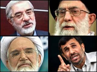تصویر آیت الله علی خامنهای، محمود احمدی نژاد، میرحسین موسوی و مهدی کروبی