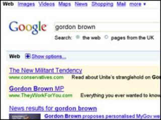 Resultados en Google en la búsqueda de Gordon Brown