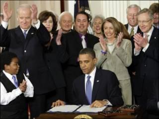 باراک اوباما و تعدادی از رهبران دموکرات کنگره
