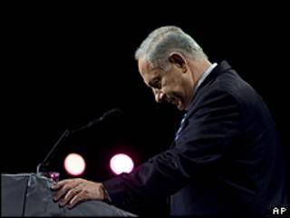 O premiê israelense Binyamin Netanyahu em à congregação judaica-americana em Washington