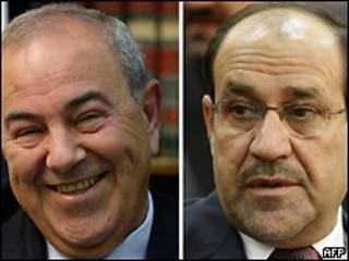 Allawi (esquerda) e Nouri al Maliki (direita)
