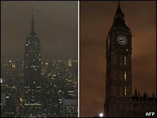 El Empire State Building de Nueva York y el Big Ben de Londres durante la Hora del Planeta, 2009.