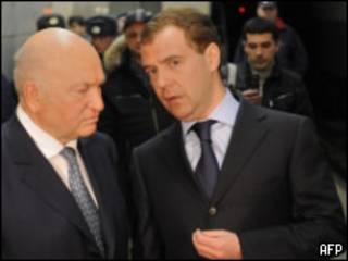 президент Медведев и мэр Москвы Лужков