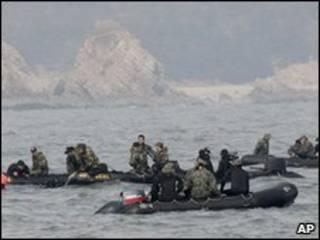 Equipes de resgate no mar na Coreia do Sul