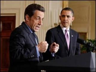 Os presidentes da França, Nicolas Sarkozy, e dos EUA, Barack Obama