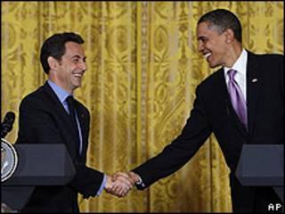 Presidente de EE.UU., Barack Obama y su colega francés, Nicolas Sarkozy, en la Casa Blanca