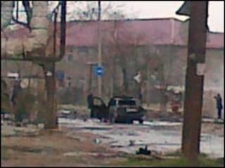 Salah satu TKP ledakan di Dagestan