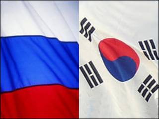 Флаги России и Кореи