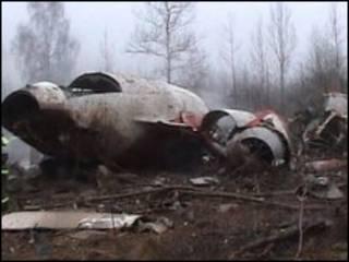 حطام طائرة الرئيس البولندي