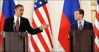 Barack Obama y Dimitri Medvedev en Praga
