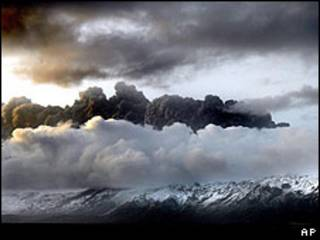 Nuvem de cinzas sobre a geleira de Eyjafjallajokull