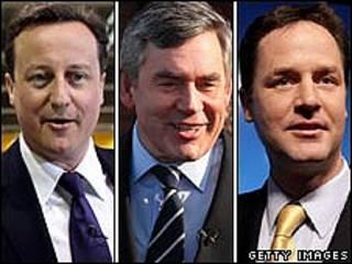 Cameron, Brown e Clegg