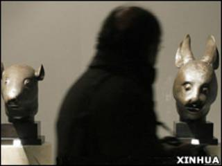 中國圓明園青銅獸首雕塑(兔首和鼠首)