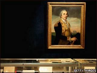 Портрет Джорджа Вашингтона и выставка книг