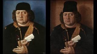 Tranh của Holbein thật (trái) và dởm (phải)