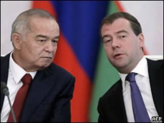 Дмитрий Медведев и Ислам Каримов на переговорах в Москве