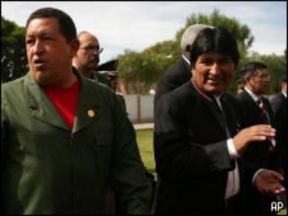Hugo Chávez y Evo Morales