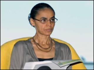 A pré-candidata do PV à Presidência, Marina Silva, durante seminário em Brasília (Abr, 13 de abril)