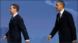 Президенты Дмитрий Медведев и Барак Обама
