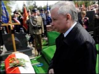 Jaroslaw Kaczynski comparece a sepultamento de integrante de seu partido