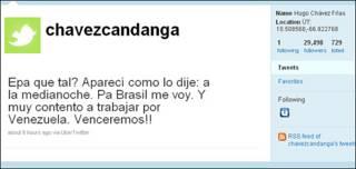 Pantallazo del Twitter de Chávez