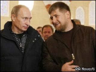 Российский премьер-министр Владимир Путин и президент Чечни Рамзан Кадыров