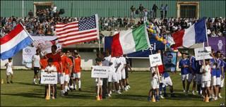 """Inauguración del """"Mundial de Fútbol"""" de Gaza."""