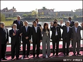 Líderes da América do Sul presentes no encontro da Unasul
