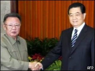 Kim Jong-Il y Hu Jintao