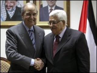 محمود عباس و جورج میچل