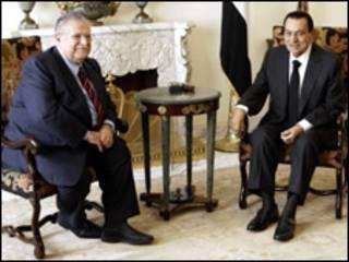 جلال طالباني وحسني مبارك