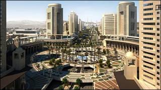 O projeto da 'cidade inteligente' com a Mesquita Sagrada ao fundo (Foto: KEC)