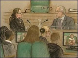 Desenho representando a sala onde está ocorrendo o julgamento