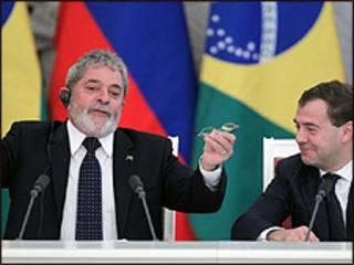 O presidente Lula e o líder russo Medvedev