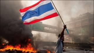Manifestante en Tailandia