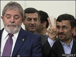 Os presidentes Lula e Ahmadinejad